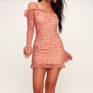Finders Keepers mini pink long sleeve dress L/10